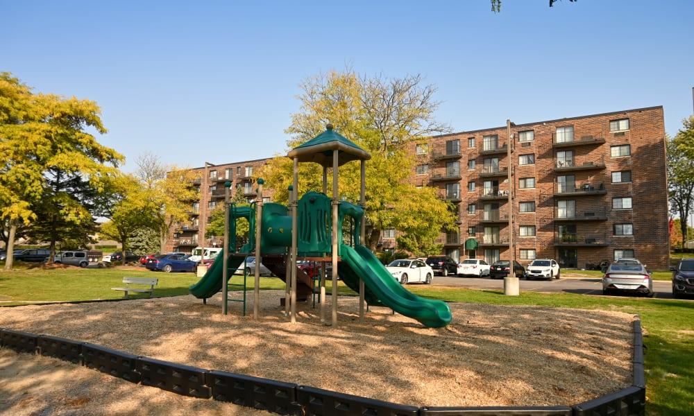 Children's playground at Mandalane Apartments in Wheeling, Illinois