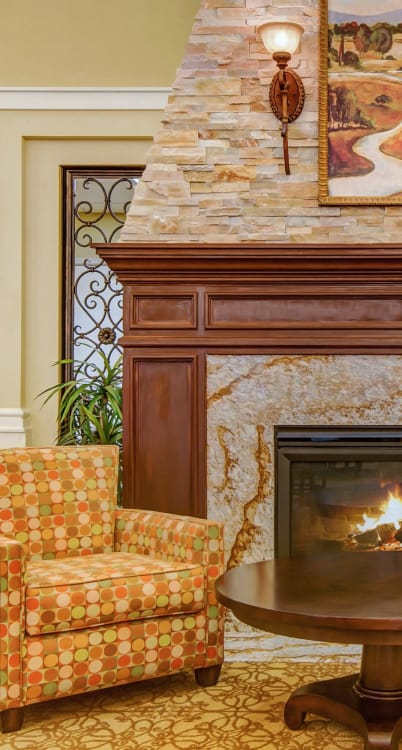 Fireplace near seating at The Commons at Elk Grove in Elk Grove, California