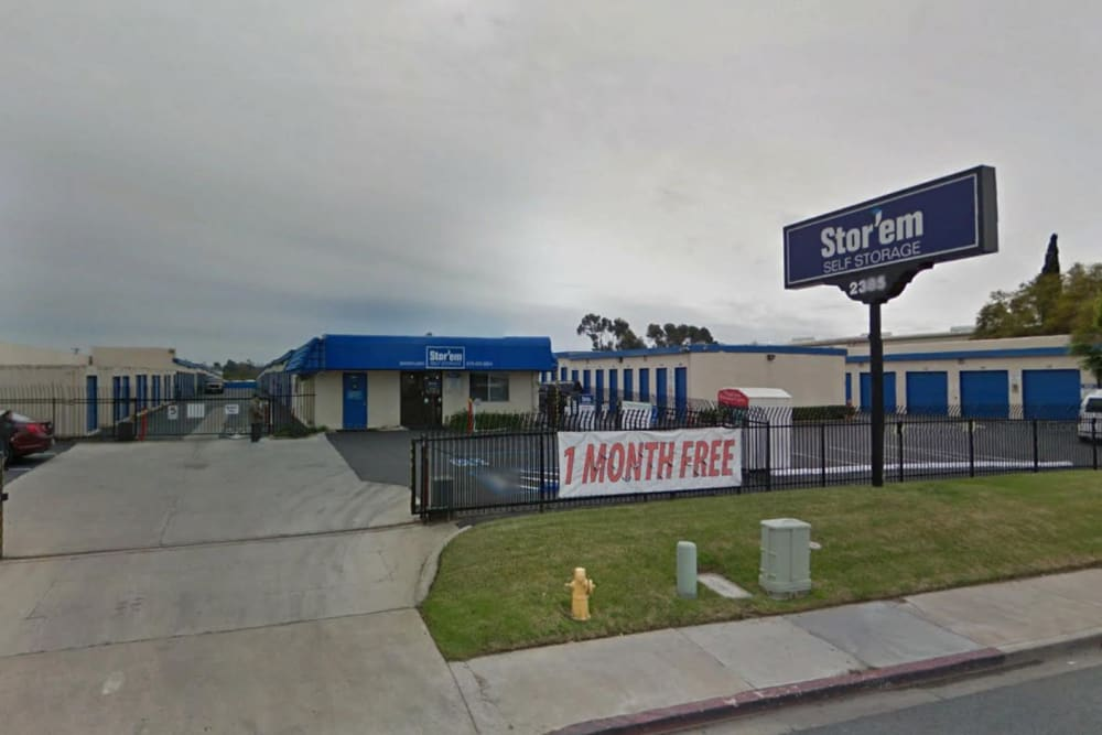 Street view of the entrance to Stor'em Self Storage in Chula Vista, California