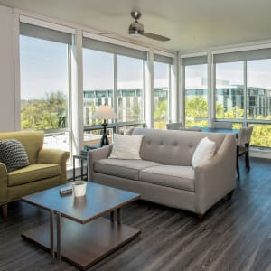 Beautifully designed open-concept layout with floor-to-ceiling windows in a model home at EVIVA Midtown in Sacramento, California