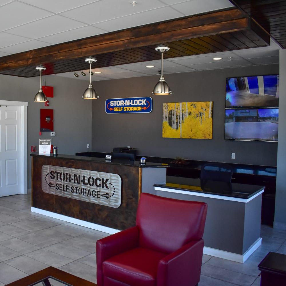 Inside the welcoming office at STOR-N-LOCK Self Storage in Colorado Springs, Colorado