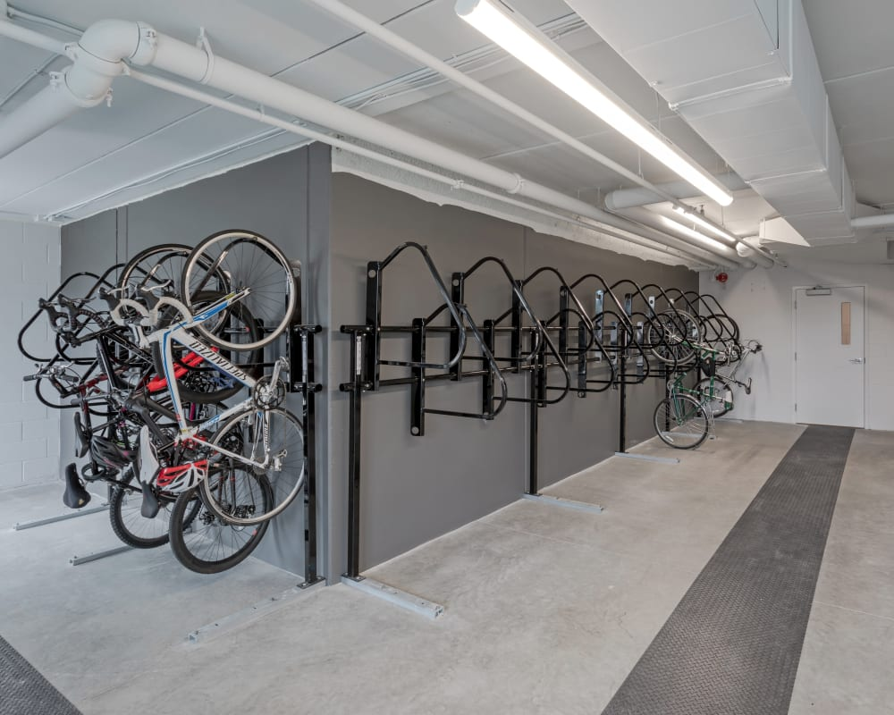 Row of bikes on rack at The Maven on Broadway in Rochester, Minnesota