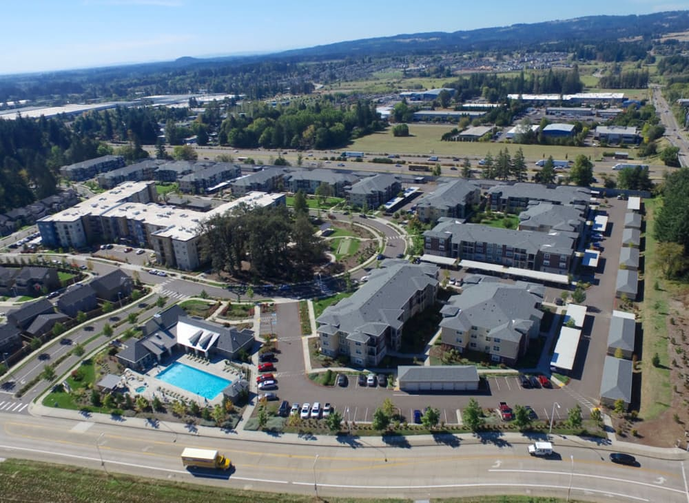 Aerial view of Terrene at the Grove and the surrounding area in Wilsonville, Oregon
