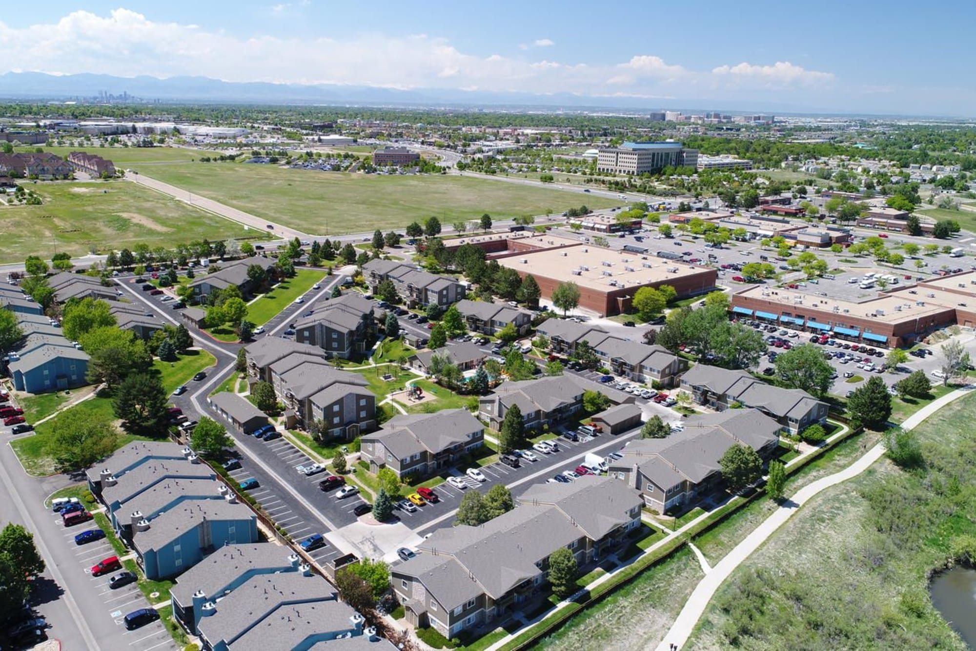 An aerial view of Crossroads at City Center Apartments in Aurora, Colorado