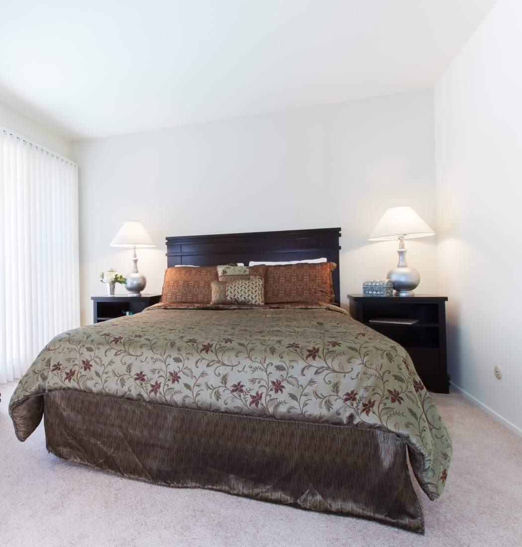 Well decorated bedroom at Diablo Pointe in Walnut Creek, California