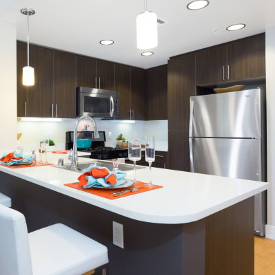 Kitchen with a spacious breakfast bar at Sofi Riverview Park in San Jose, California