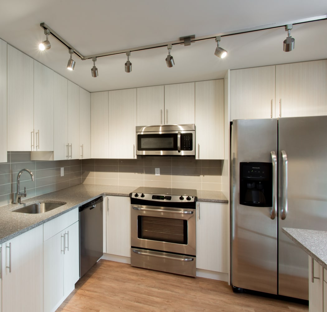 Stainless steel appliances at Royal View Apartments in Calgary
