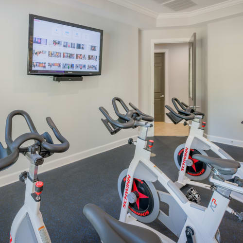 View virtual tour of the yoga and spin room in the fitness center at The Vive in Kannapolis, North Carolina