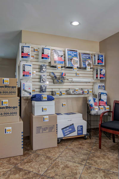 Packing and moving supplies available at Sorrento Valley Self Storage in San Diego, California
