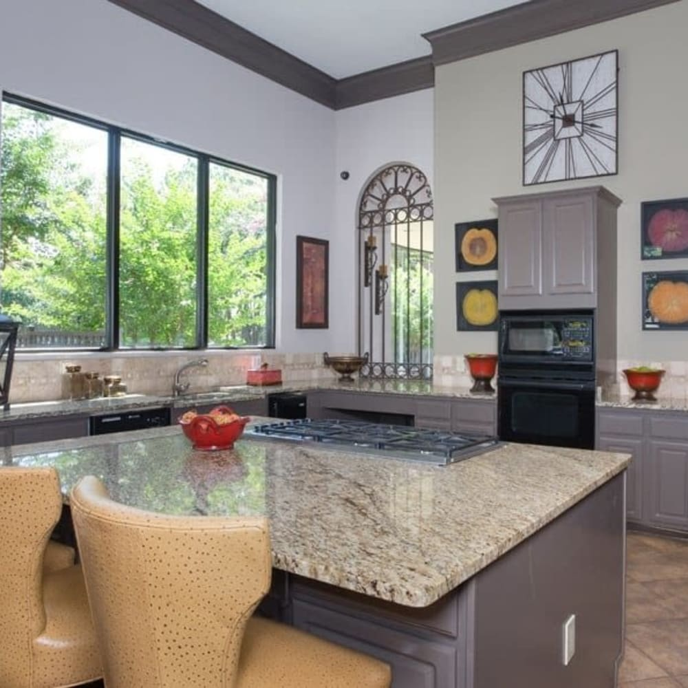 Resident kitchen at The Verandas at Timberglen in Dallas, Texas