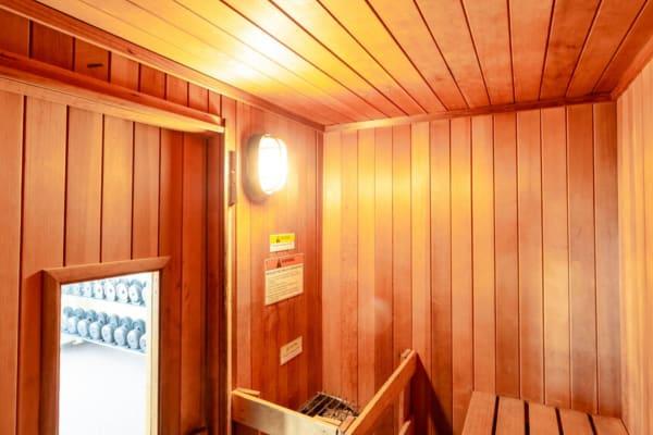 Wooden sauna at Bennington Hills Apartments in West Henrietta, New York