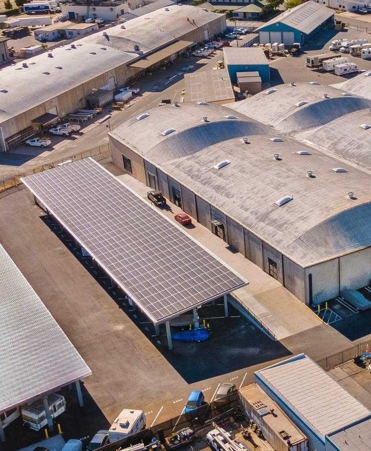Solar panels at StorQuest Self Storage in Modesto, California