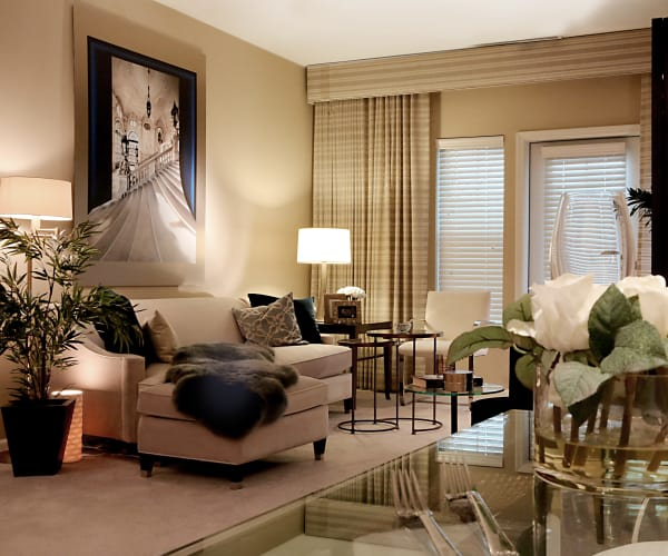 Model living room at All Seasons of West Bloomfield in West Bloomfield, Michigan