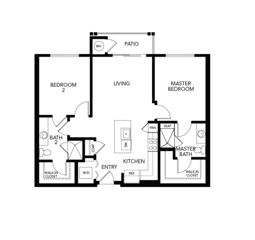 Two bedroom B1c: 1003 sq. ft. at Avenida Cool Springs in Franklin