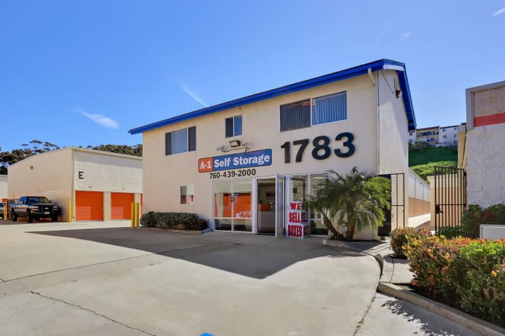 The front entrance to A-1 Self Storage in Oceanside, California