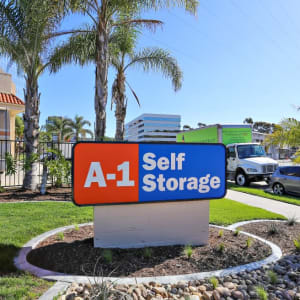 Front monument sign of A-1 Self Storage in San Diego, California