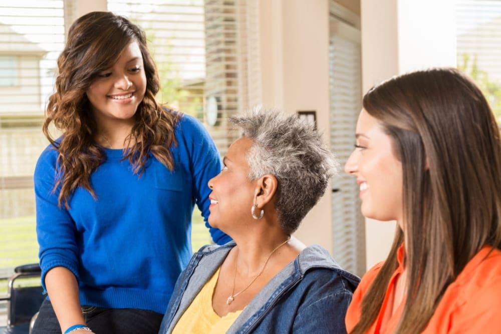 Family members visit resident at Arbor View in Burlington, Wisconsin