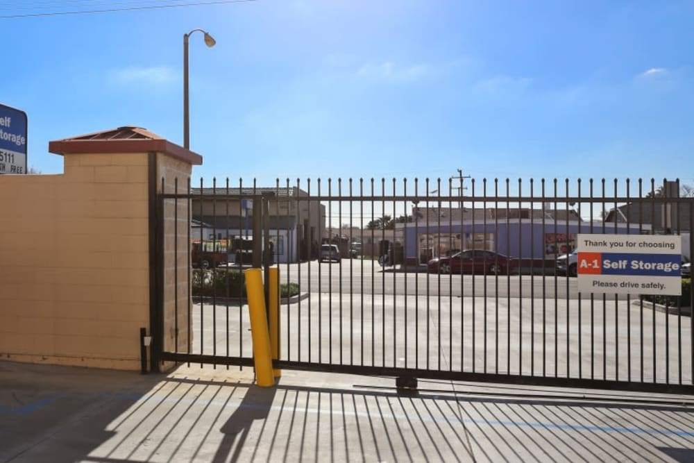 The gated entrance to A-1 Self Storage in Fullerton, California