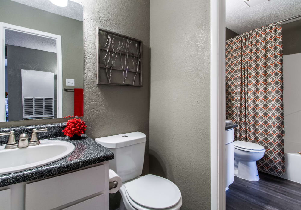 Bathroom layout at Sausalito Apartments in College Station, Texas