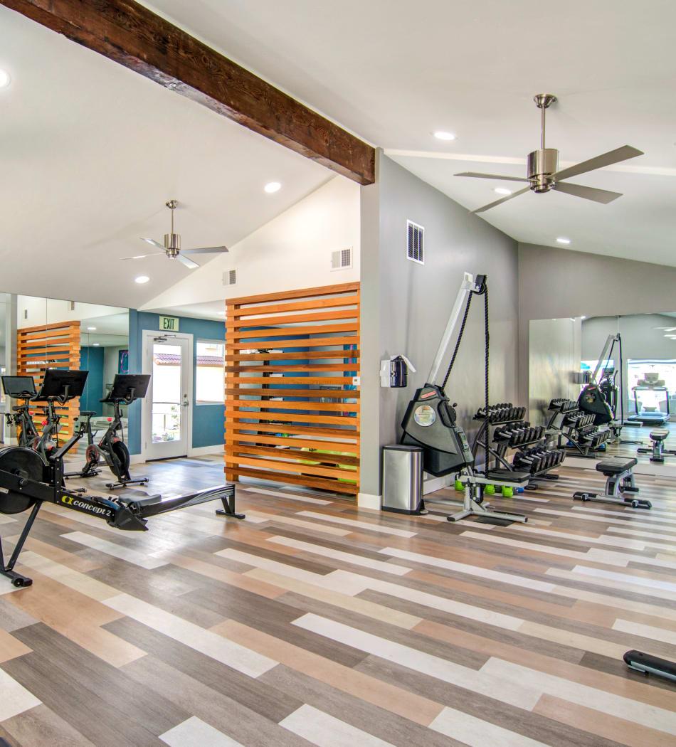 Very well-equipped onsite fitness center at Veranda La Mesa in La Mesa, California