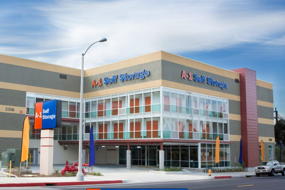 The front entrance to A-1 Self Storage in Alhambra, California