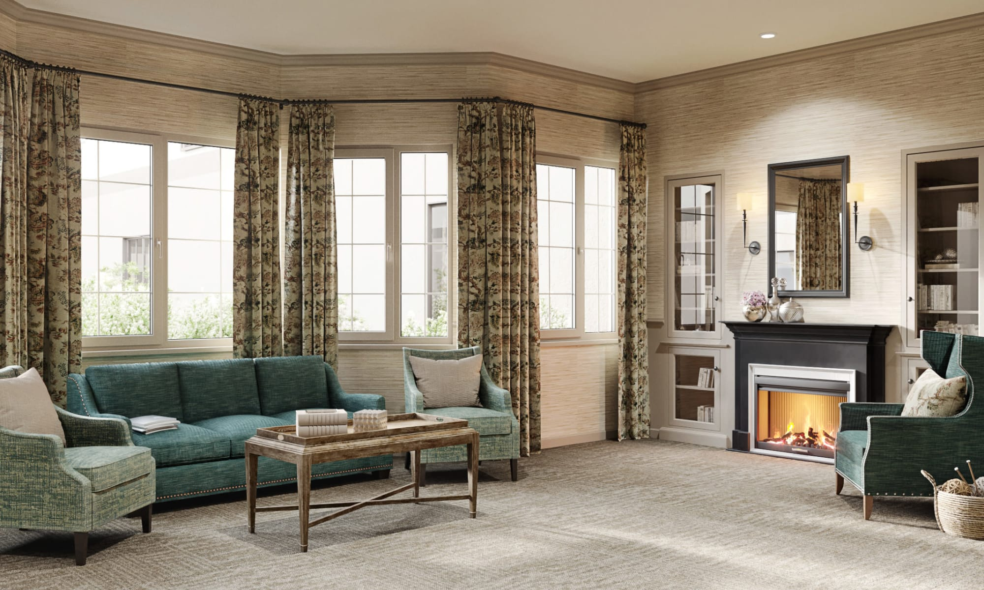 A beautiful living space with fireplace at Weatherly Court in Medford, Oregon