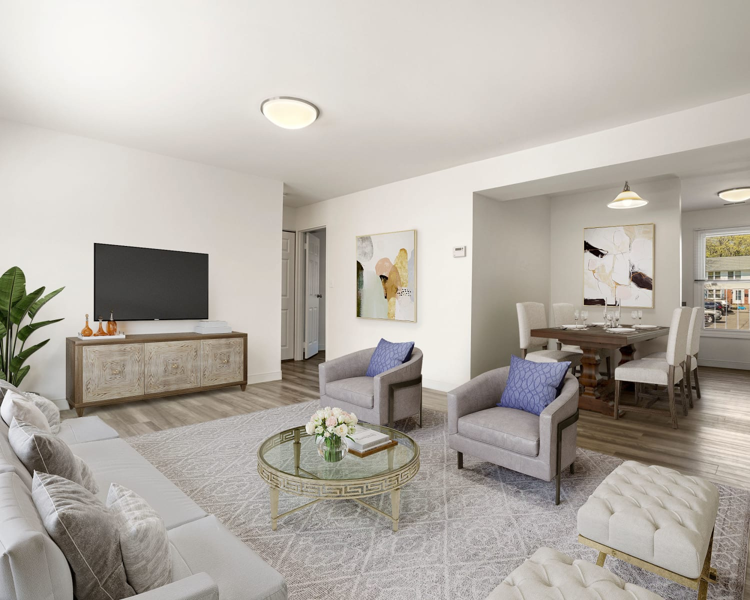 Spacious living room in model home at Stony Brook Commons in Roslindale, Massachusetts