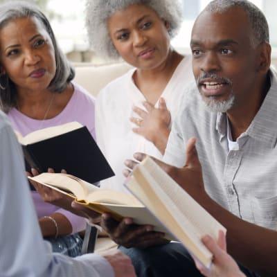 Group of residents at bible study at York Gardens in Edina, Minnesota