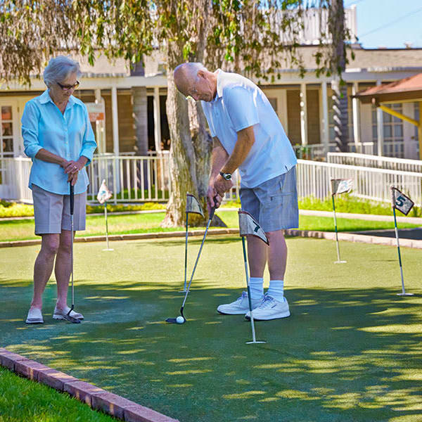 Playing golf at Monte Vista Village in Lemon Grove, California