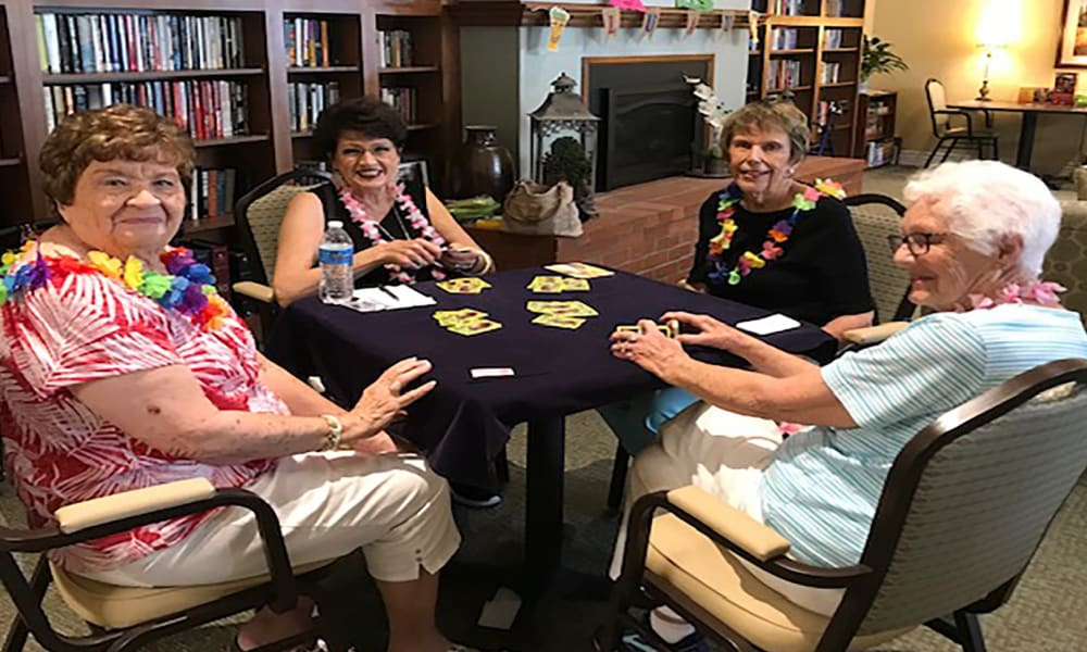 Residents playing bridge at Blossom Vale Senior Living in Orangevale, California