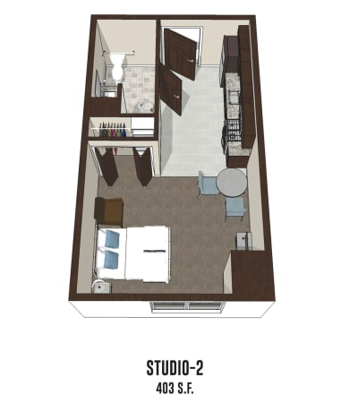 Independent living Studio 2 is 403 square feet at New Albany in New Albany, Ohio.