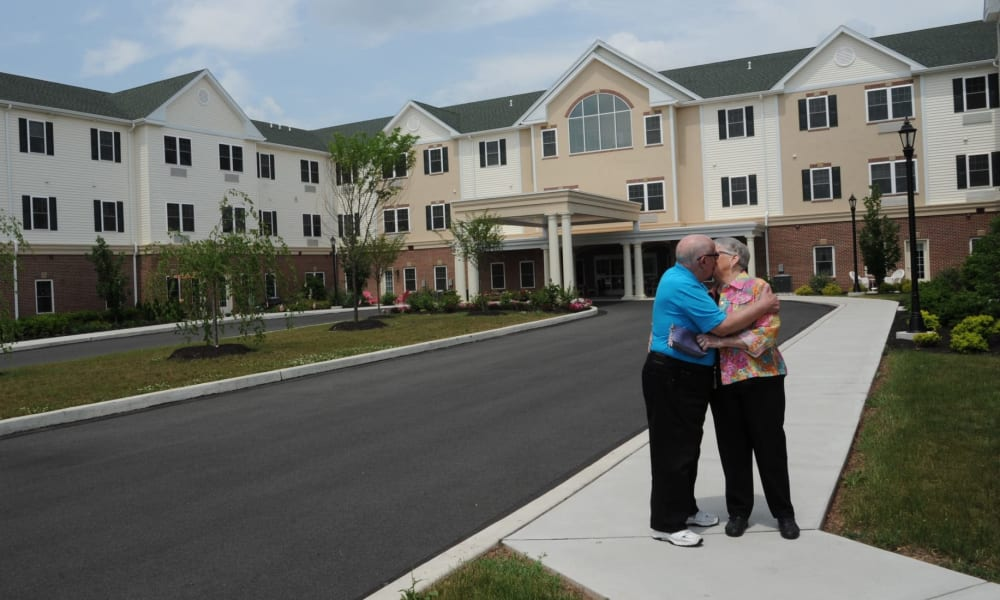 Residents enjoying the outdoors at Arbour Square of Harleysville in Harleysville, Pennsylvania