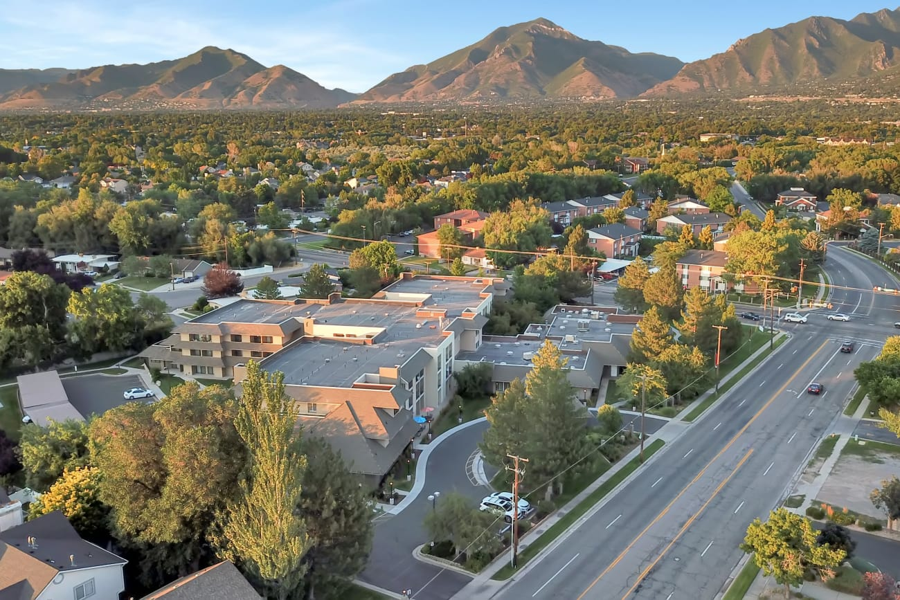 Aerial street view at Cottonwood Creek in Salt Lake City, Utah