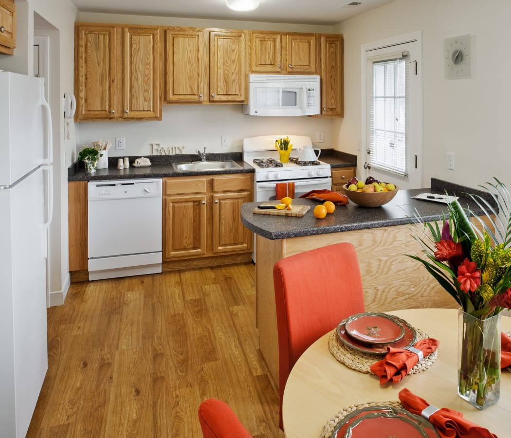 Lovely decorated kitchen and dining room at Greenwoods in Brockton, Massachusetts