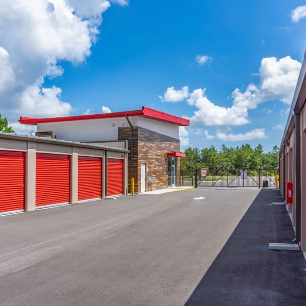 Electronic gate access to drive-up storage units at StorQuest Express - Self Service Storage in Palm Coast, Florida