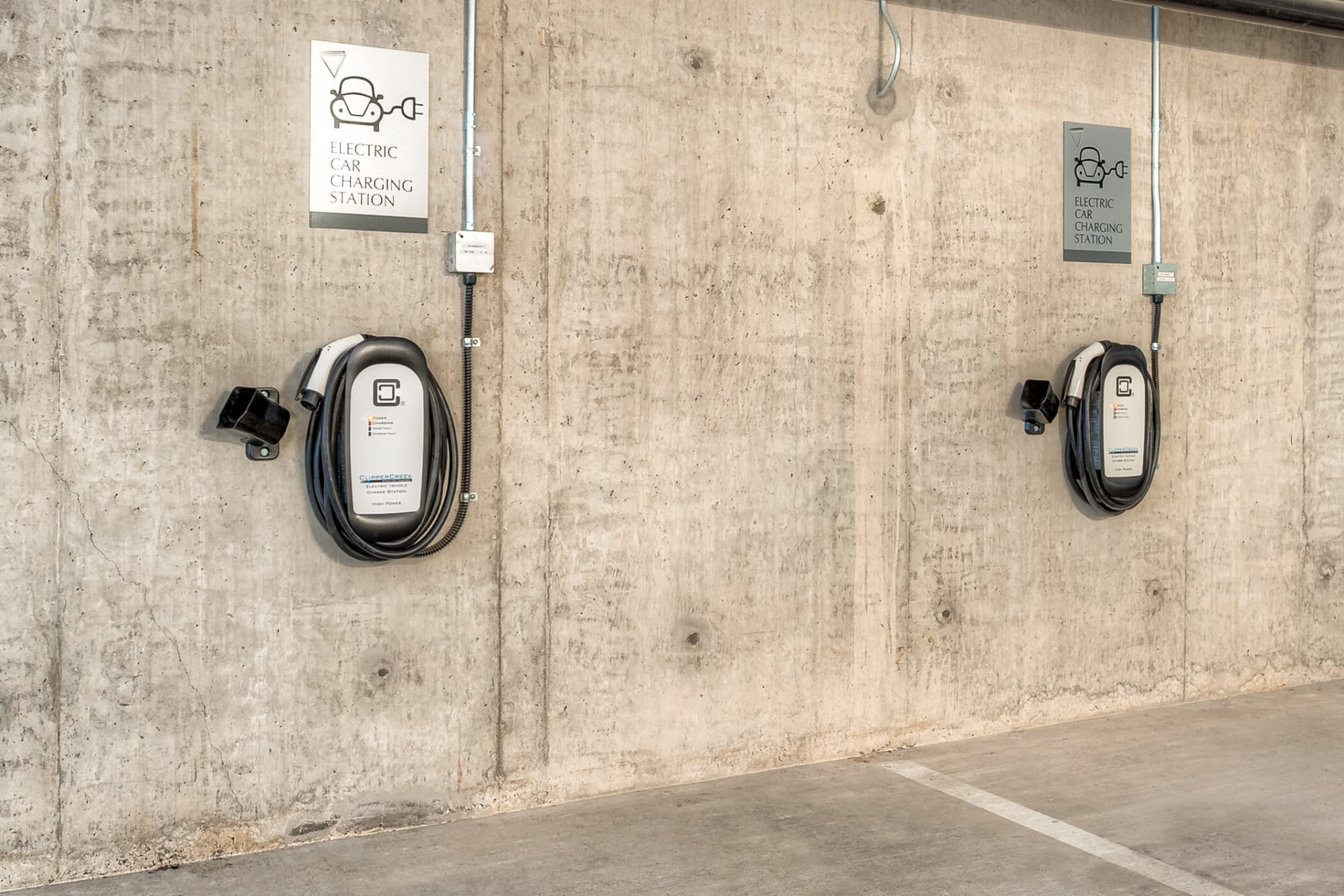 Electric vehicle charging stations at Tria Apartments in Newcastle, Washington