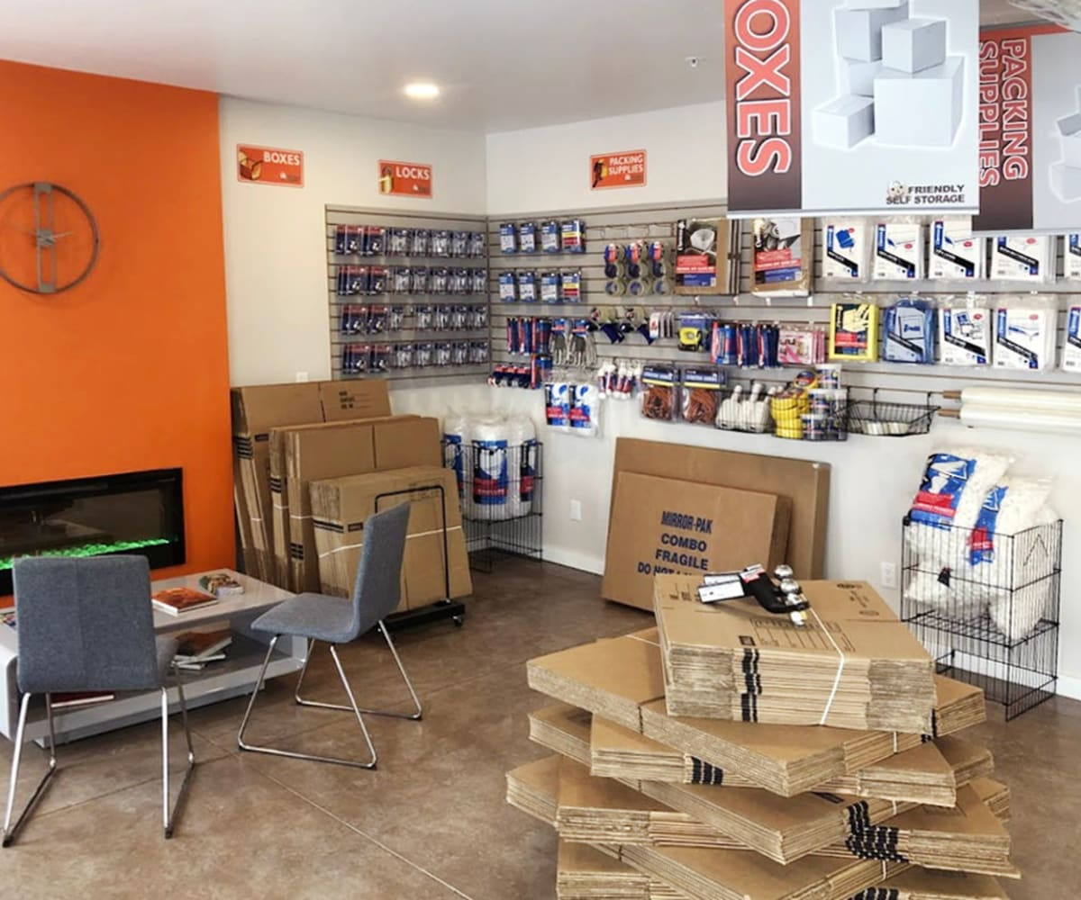 Friendly Self Storage in Gypsum, Colorado, has an onsite moving and packing supply store