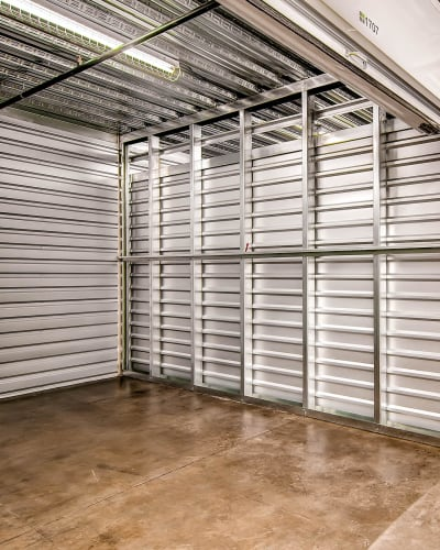 Interior view of a storage unit at Greenbox Self Storage in Denver, Colorado