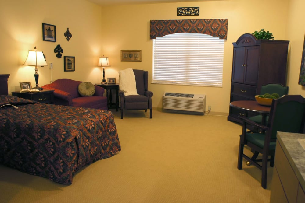 Large assisted living suite at The Lakes of Monclova in Maumee, Ohio