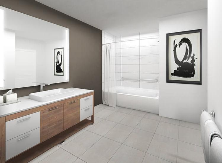 Our apartments in Ithaca, New York showcase a modern bathroom