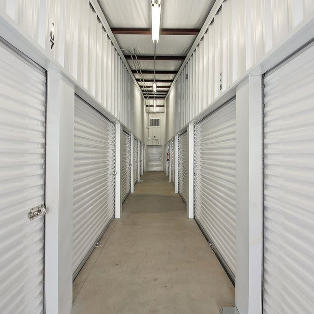 Row of climate controlled units at Global Self Storage in Edmond, Oklahoma