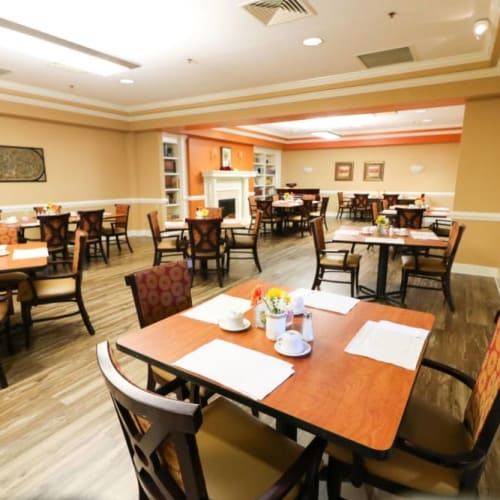 The spacious dining hall at The Crossings at Ironbridge in Chester, Virginia