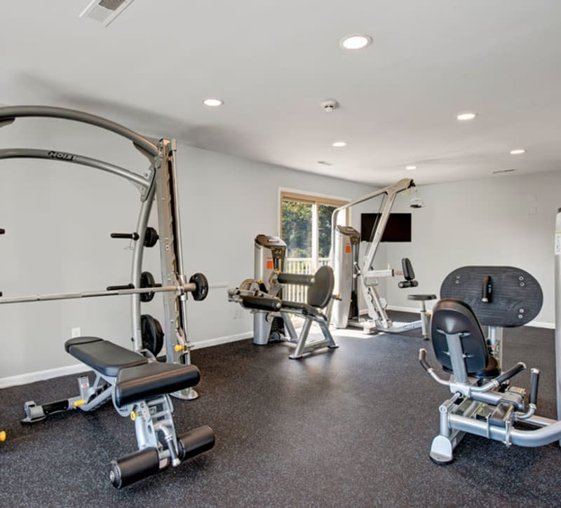 Fully equipped fitness center at Country Village Apartments in Bel Air, Maryland