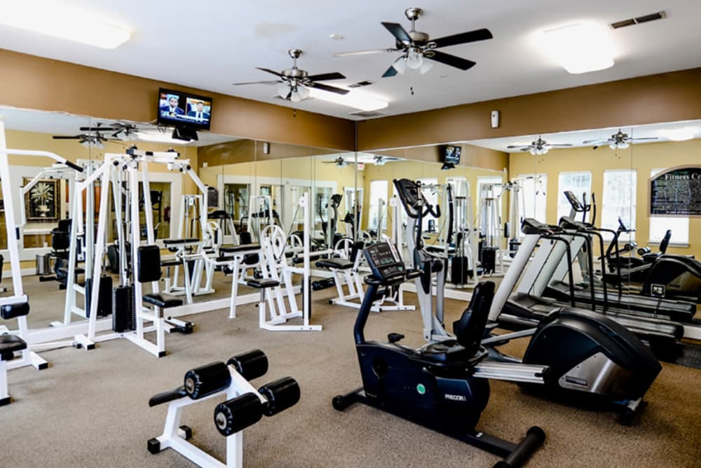 Fully equipped fitness center at Retreat at Stonecrest in Lithonia, Georgia