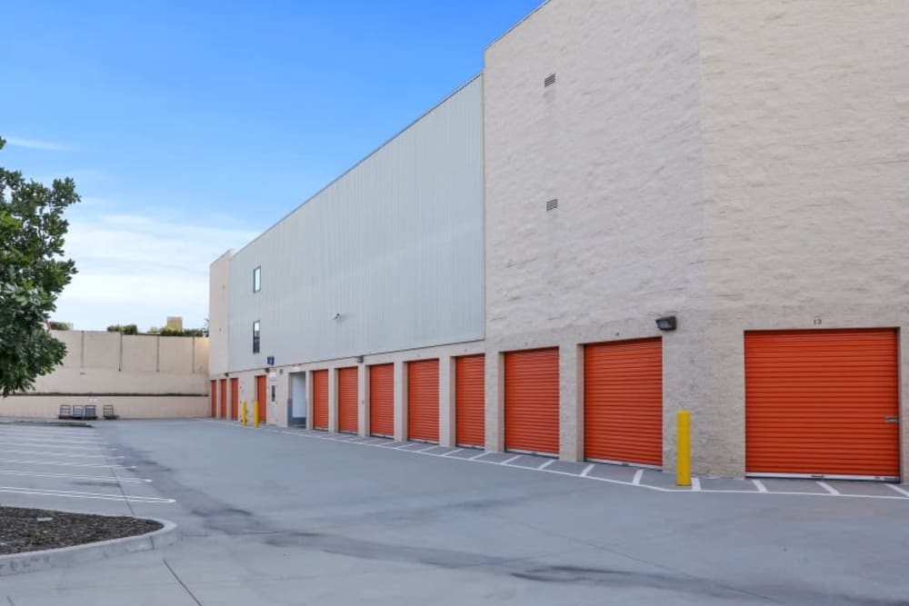 A row of outdoor storage units at A-1 Self Storage in Torrance, California