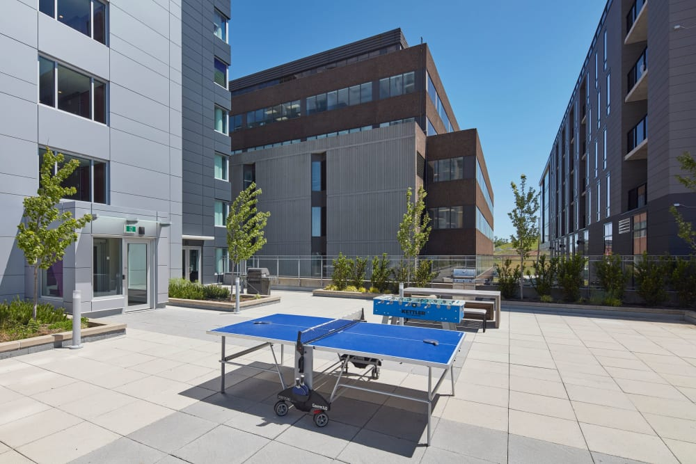Outdoor ping pong tables at 19Twenty Apartments in Halifax, Nova Scotia