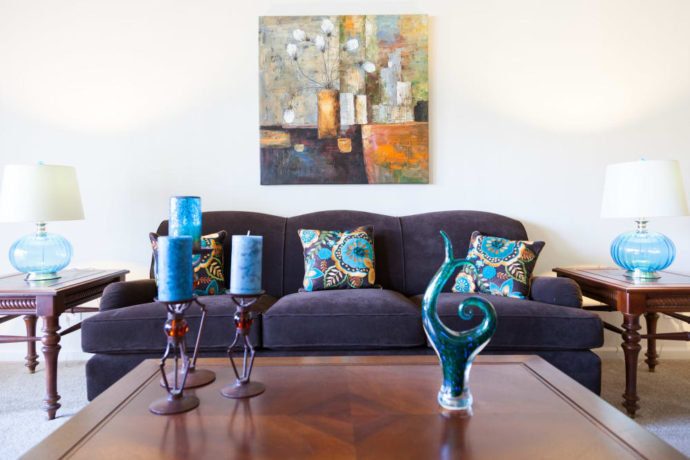 Well decorated model living room at Valley West Apartments in San Jose, California