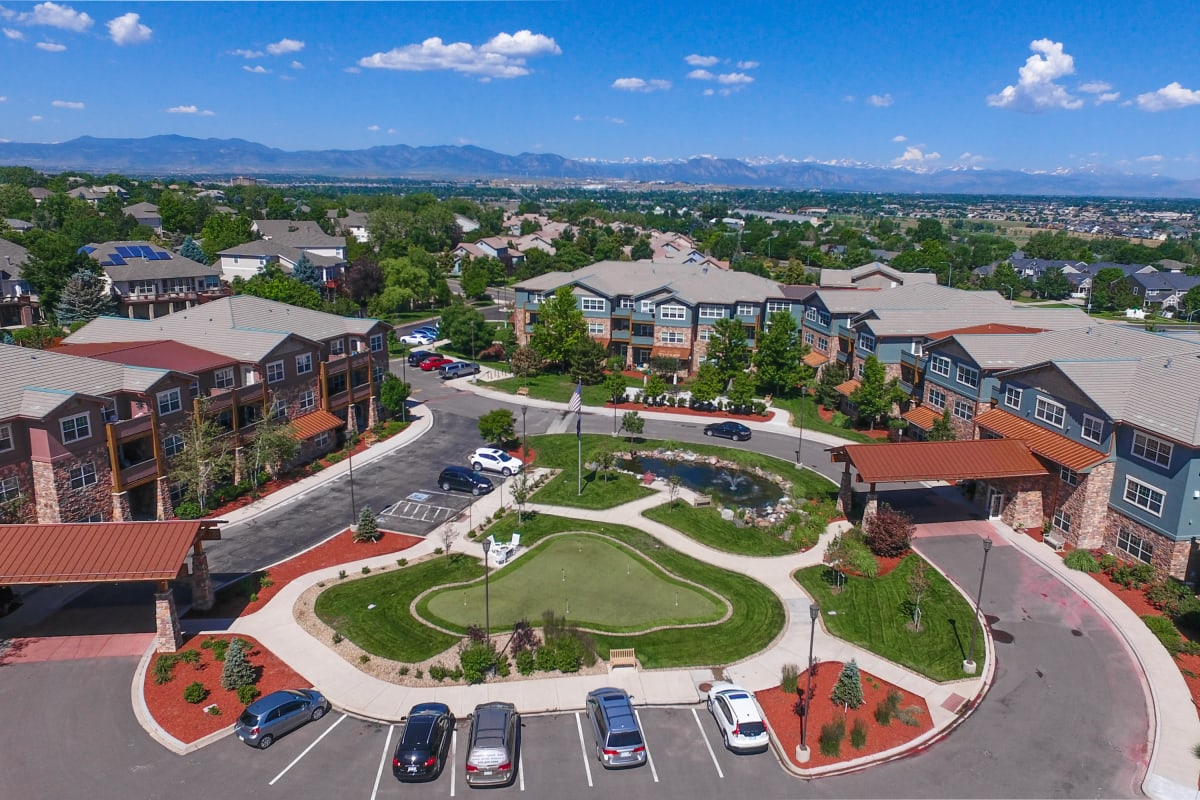Aerial view of Keystone Place at Legacy Ridge in Westminster, Colorado