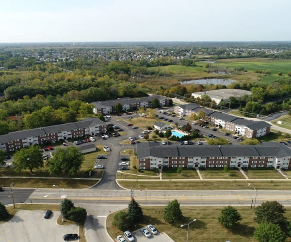 Aerial View of Property and Surrounding Area at West Line Apartments in Hanover Park, Illinois