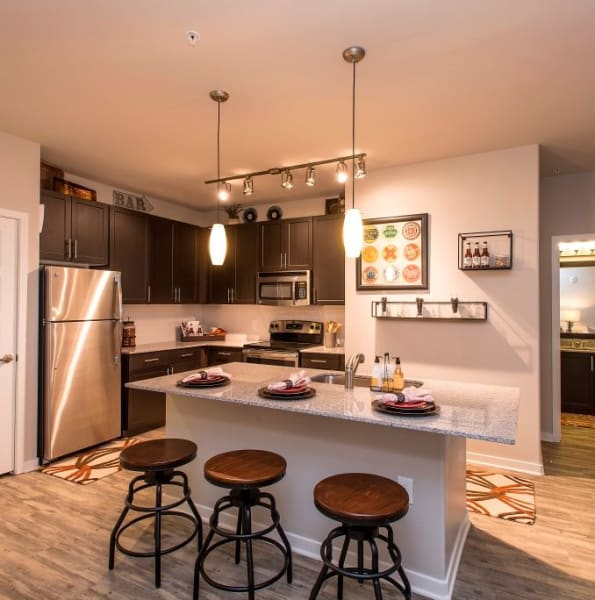 Kitchen island at Luxe Scottsdale Apartments in Scottsdale, Arizona